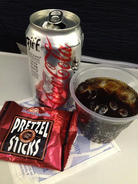 Diet Coke and pretzel sticks - United Airlines