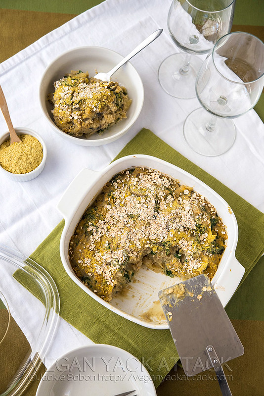 A filling and delicious, Mushroom Lentil Spaghetti Squash Casserole that is low on fat and high on protein and fiber!