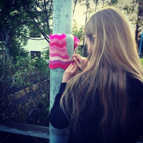 Happy Womens Rights Day! #málumbæinnbleikan #yarngraffiti #yarnstorming #yarnbombing #crochet #pink #girlpower for all the amazing women I know