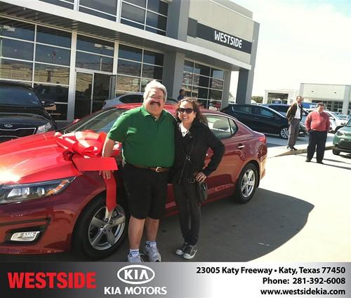 Thank you to Tony Garza on your new 2014 #Kia #Optima from Jonathan Delgado and everyone at Westside Kia! by Westside KIA