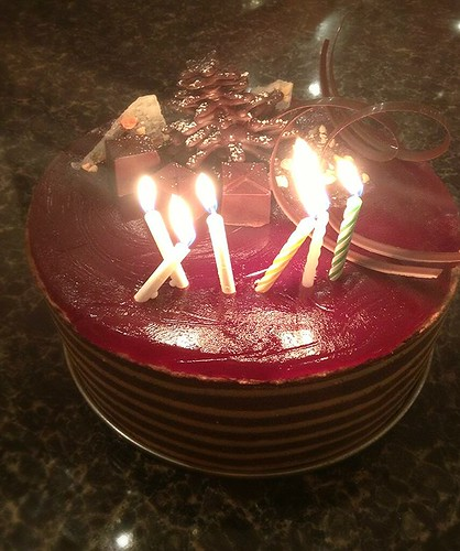 xmas/cousin's 17th birthday cake: chocolate coffee caramel mousse by pipsyq