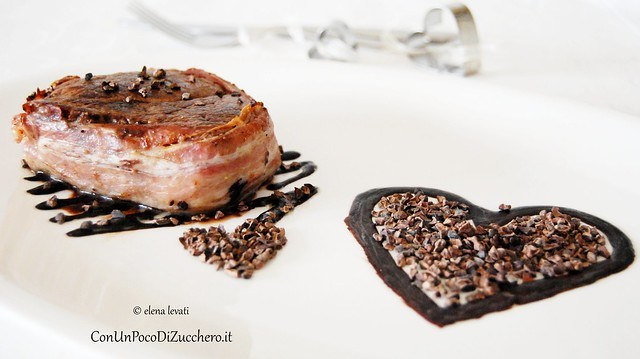 Beef fillet with chocolate and nibs