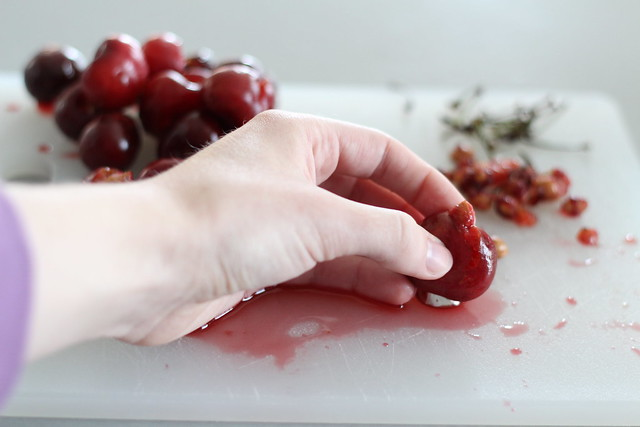 Using a frosting tip to pit cherries