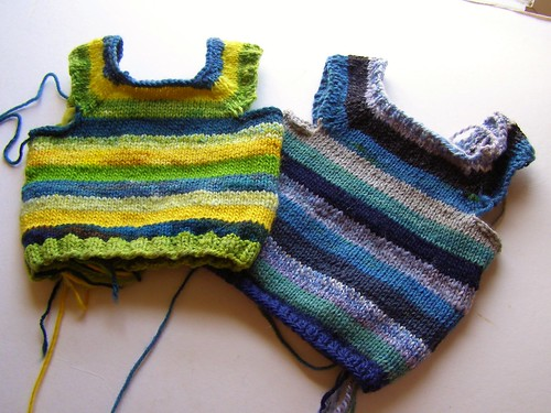 scrap stripes vests - 6 mo.