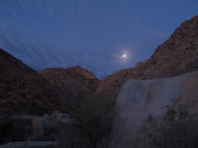 Sunrise and Moonset over Cougar Canyon from our campsite