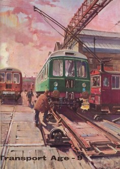 """British Transport Commission – """"Transport Age No.9, 1959″ – DMU at Derby Carriage & Wagon Works"""" by Terence Cuneo"""