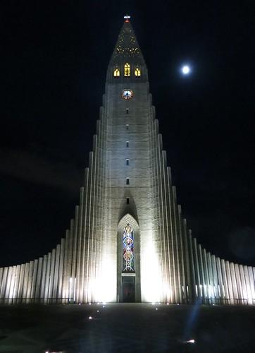 reykjavik cathedral by night