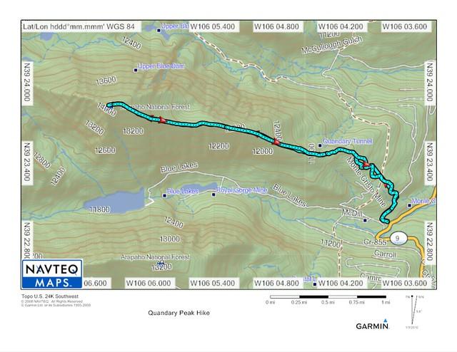 Quandary Peak Topo Map