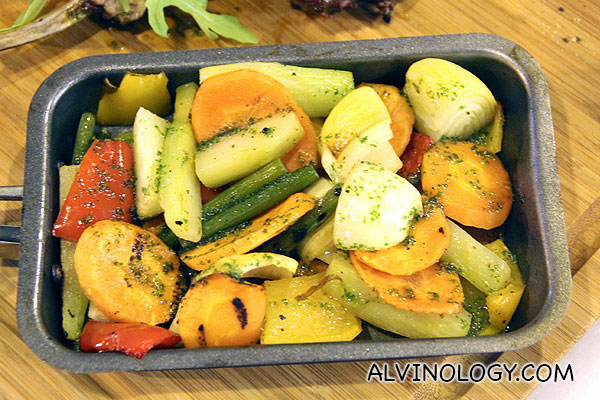 Close-up shot of the grilled vegetables