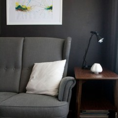 Living Rooms With Dark Gray Walls Grey Carpet Room Ideas Wall In The Petite Apartment Black Ikea Strandmon Sofa Mid Century Modern