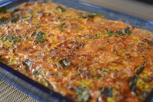 Crustless bacon & zucchini quiche