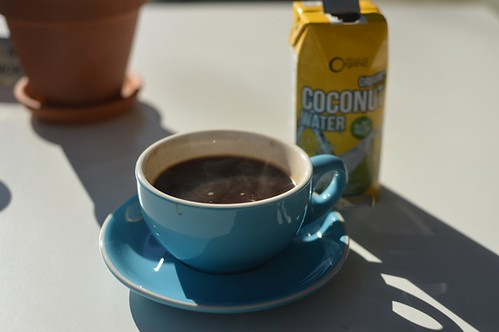 Long black, coconut water