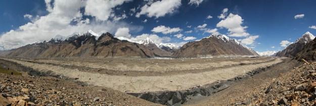 South Inylchek Glacier from Merzbacher Station. South Inylchek Glacier Trek
