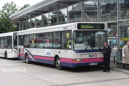 Dennis Dart SLF Plaxton body, R243 SBA, First Greater Manchester, Oldham bus station