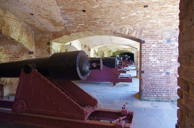 Artillery battery in casemate; Fort Sumter, Charleston Harbor, South Carolina, June 14, 2012