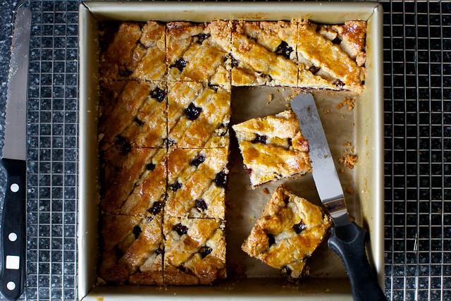 linzer torte, cut into squares