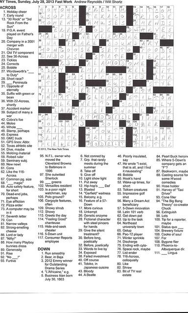 NYT Sunday Puzzle - July 28, 2013