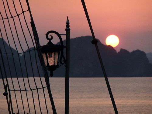 sunset seen while cruising Ha Long Bay in Vietnam