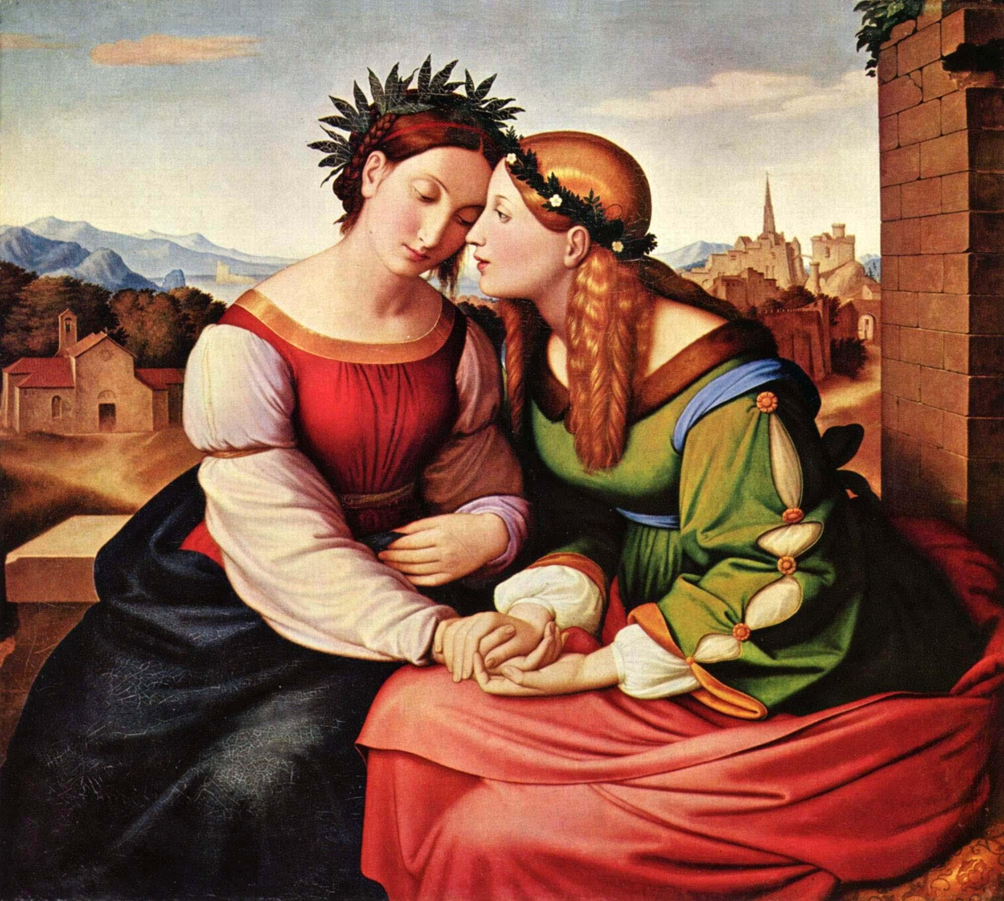 Friedrich Overbeck: Italia und Germania, 1828. Öl auf Leinwand, 94,4 cm × 104,7 cm, Neue Pinakothek München