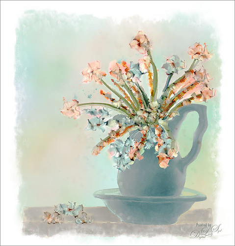 Image of a pitcher of flowers created using Corel Painter