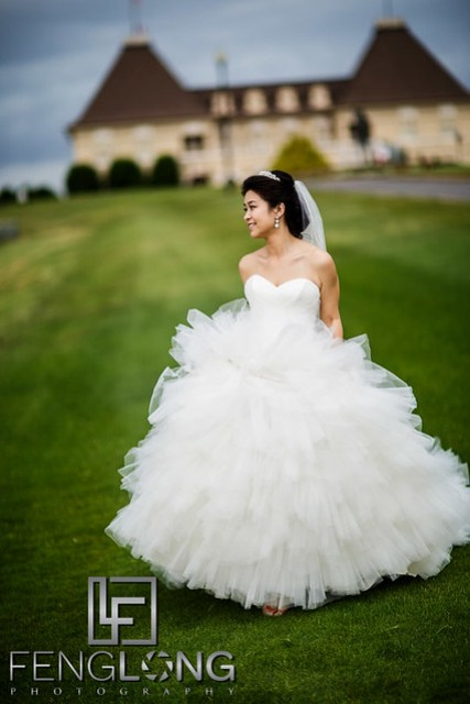 Chinese bride outdoors at Chateau Elan winery