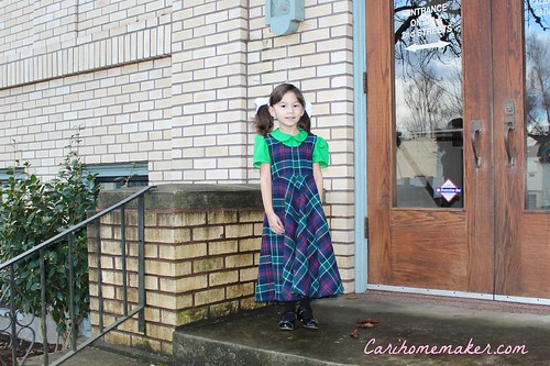 Green Blouse and Plaid Jumper