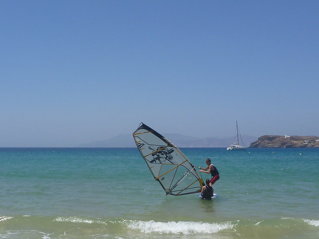 Windsurfing at Ios (note our catamaran anchored in the bay).