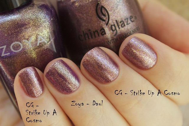 05 China Glaze Autumn Nights compare Strike Up A Cosmo vs Zoya Daul copy