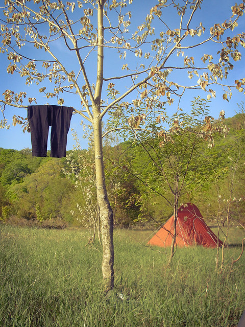 Backcountry campsite, wet pants