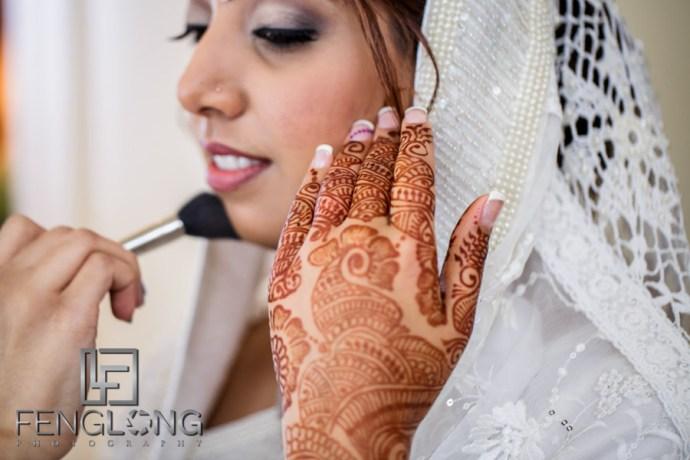 Makeup being applied before Nikkah