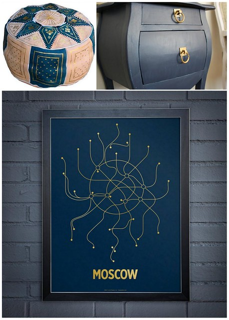 Navy Gold Decor Collage