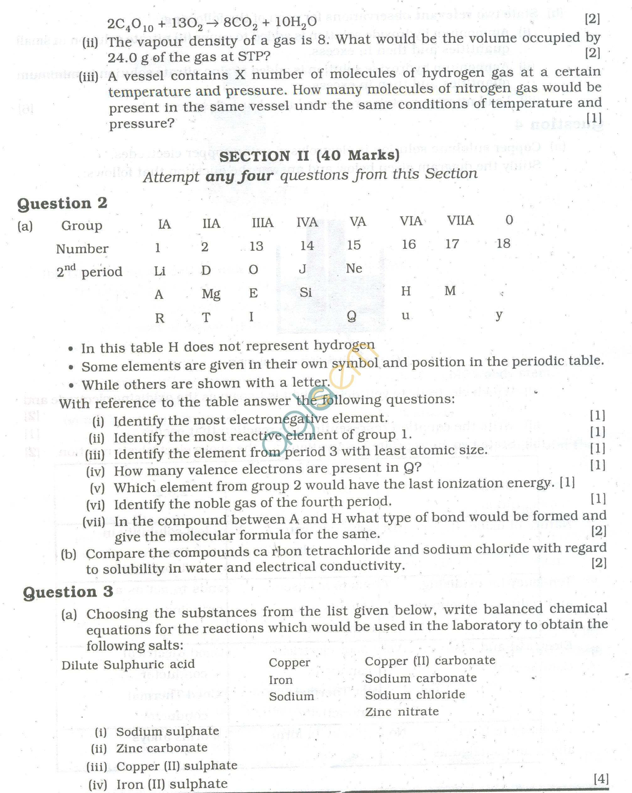 Icse Question Papers For Class 10 Chemistry