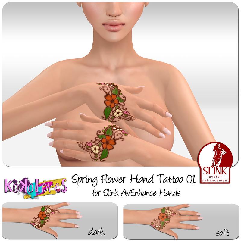 [KoKoLoReS]BP - Spring Flower Hand tattoo 01