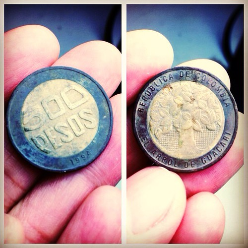 Colombian coin found in our yard