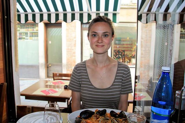 sophia and a nice plate of frutti di mare