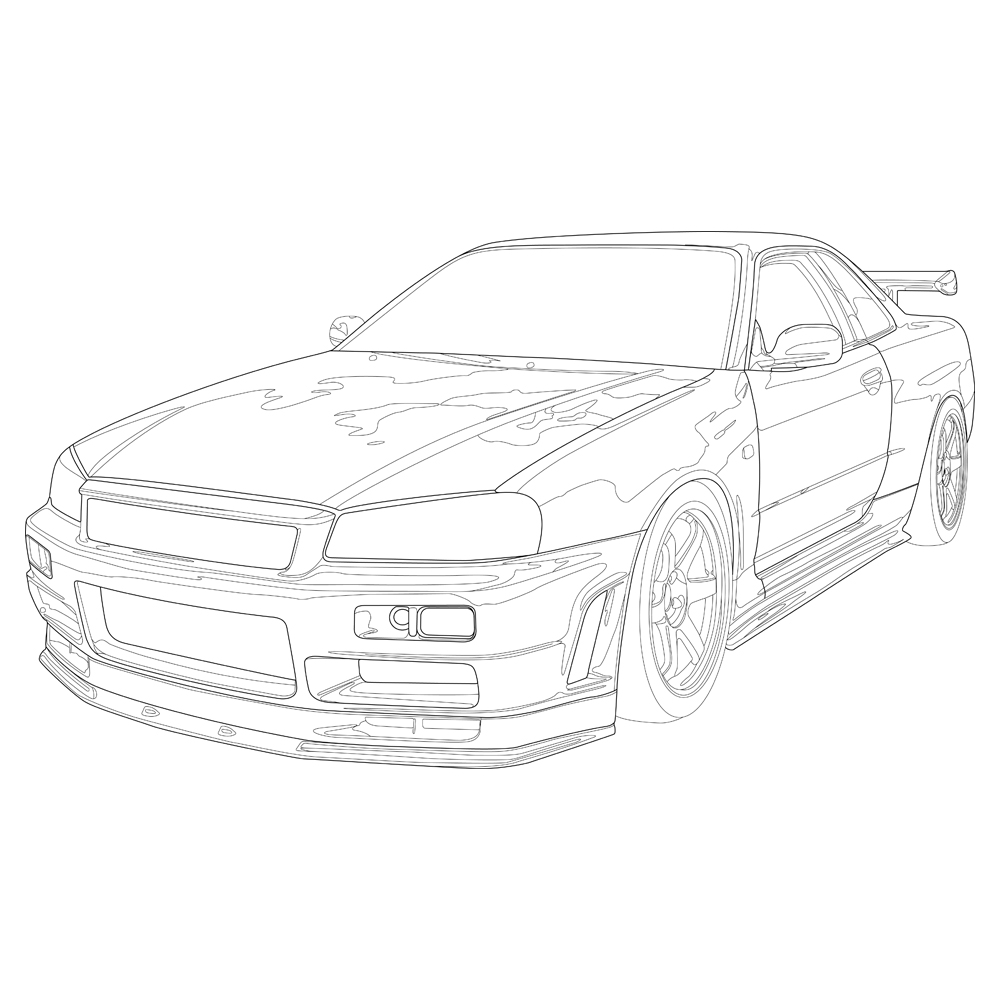 Nissan Skyline R34 Drawing Sketch Coloring Page