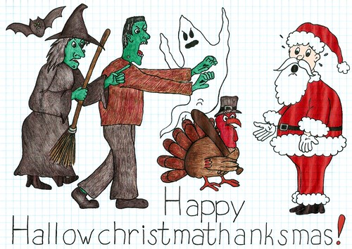 Happy Hallowchristmathanksmas by pixygiggles