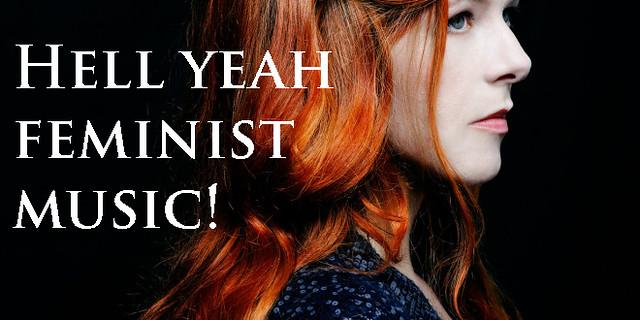 "Neko Case with text: ""Hell Yeah, Feminist Music!"""