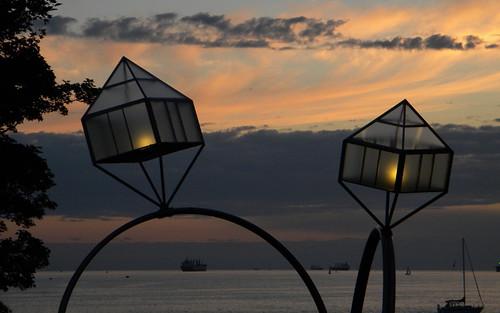 Diamond Ring Sculpture sunset on English Bay