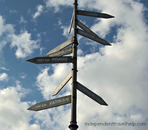 Signpost of distances, Cetinje