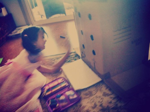 The new game in action, as tested by the girl (boy inside).