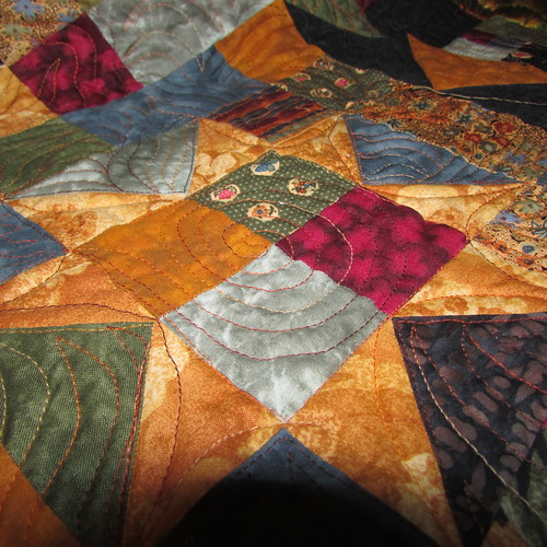 Quilting on Harvest Star quilt... by ruthiequilts
