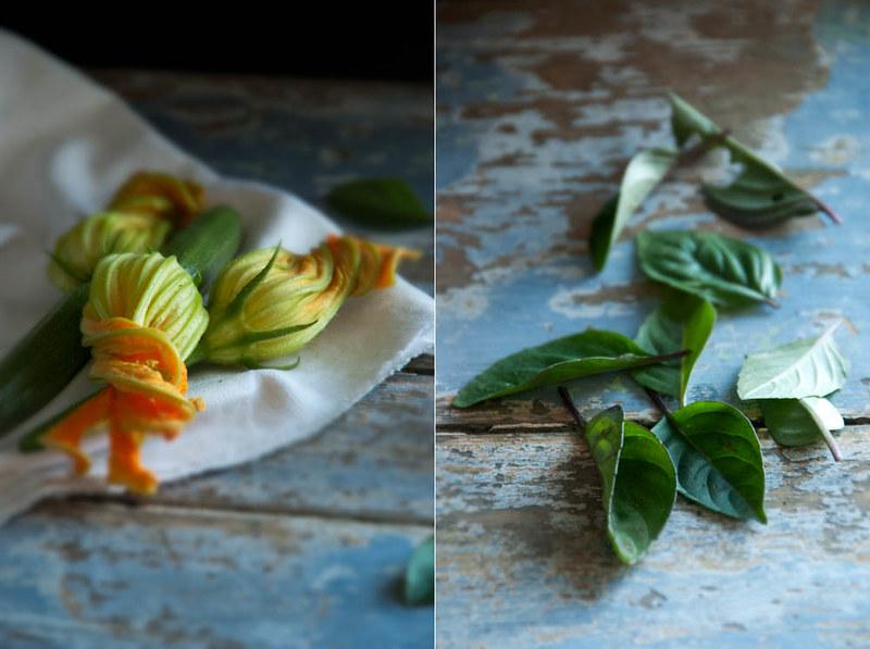 Flor de courgette, manjericão