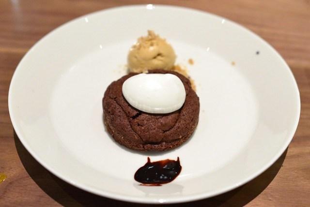 hazelnut chocolate cake, rosemary butterscotch ice cream