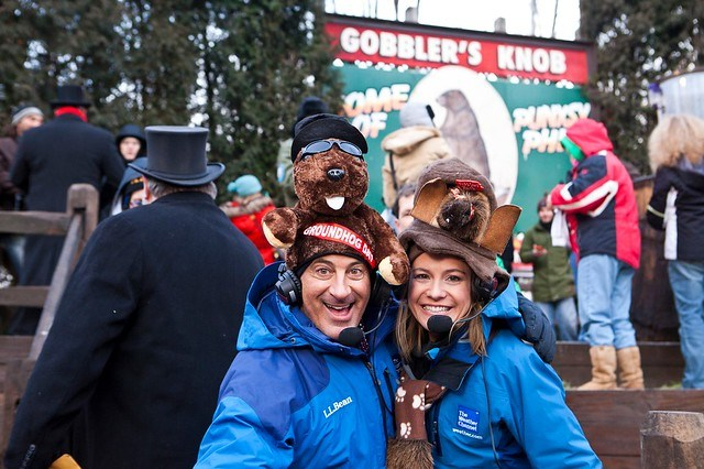 Weather Channel's Jim Cantore and Jen Carfagno at Gobbler's Knob in Punxsutawney, PA
