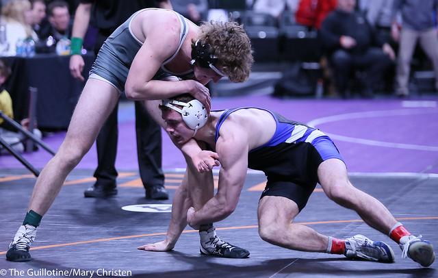 160AA - Semifinal - Brady Berge (Kasson-Mantorville) 45-0 won by tech fall over Nate Carlson (Annand M Lk Lightning) 33-5 (TF-1.5 4:44 (24-9))