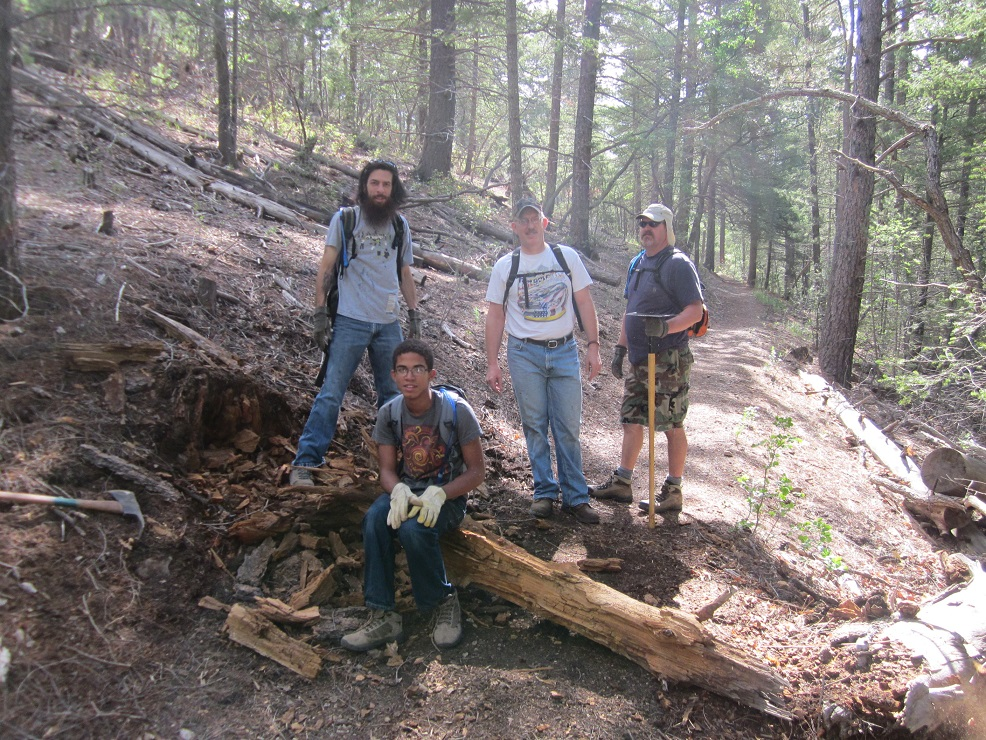 A New Mexico Rails-to-Trails crew of volunteers