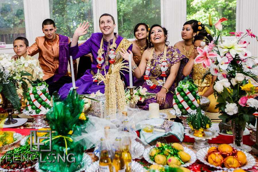 Cambodian bride and groom during first Cambodian wedding ceremony