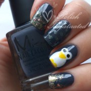 penguin nail art winter polish