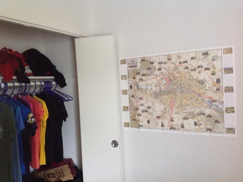 A map of historical destinations in Berlin, brought back for me by my friend at work. And yes, my closet is color-coded. Whatever.